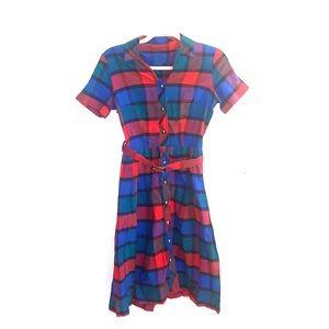 Vintage 1980s single stitch plaid dress
